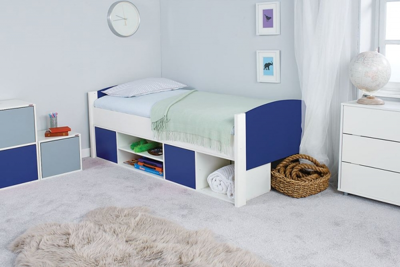 Stompa Storage Cabin Bed with Blue Headboard and Doors