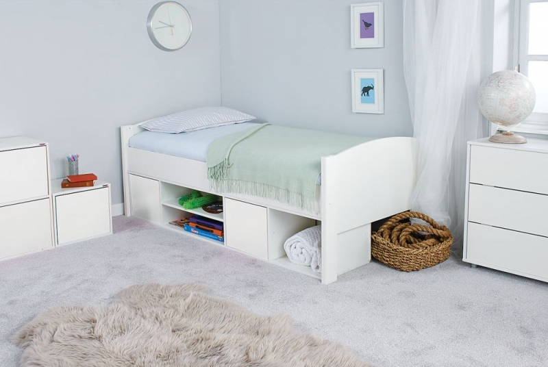 Stompa Storage Cabin Bed with White Headboard and Door