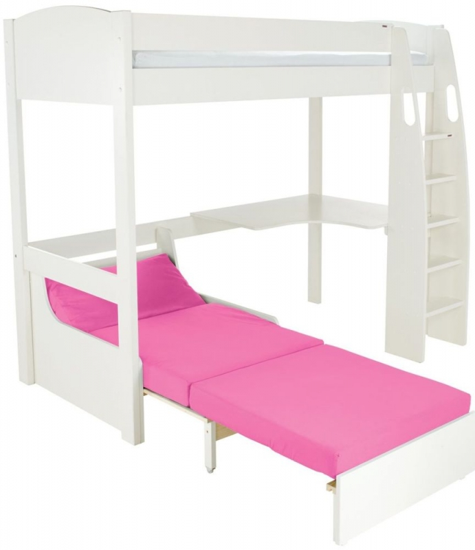 Stompa White High Sleeper Frame Including Desk and Pink Chair Bed