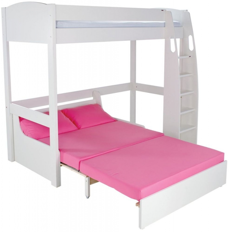 Buy stompa white high sleeper frame with pink double sofa for White double divan bed