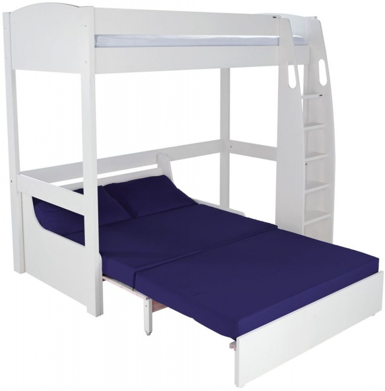 buy stompa white high sleeper frame with blue double sofa. Black Bedroom Furniture Sets. Home Design Ideas