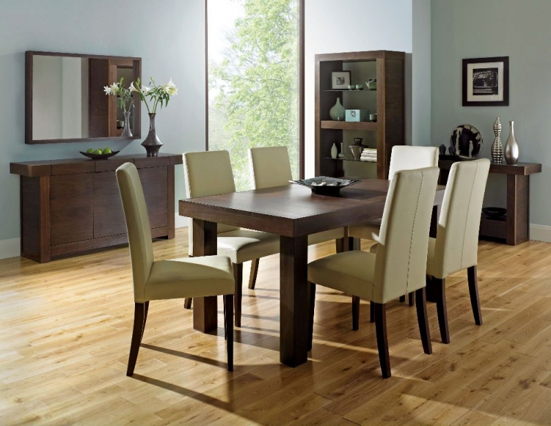 Bentley Designs Akita Walnut Dining Chair - Ivory Taper Back (Pair)