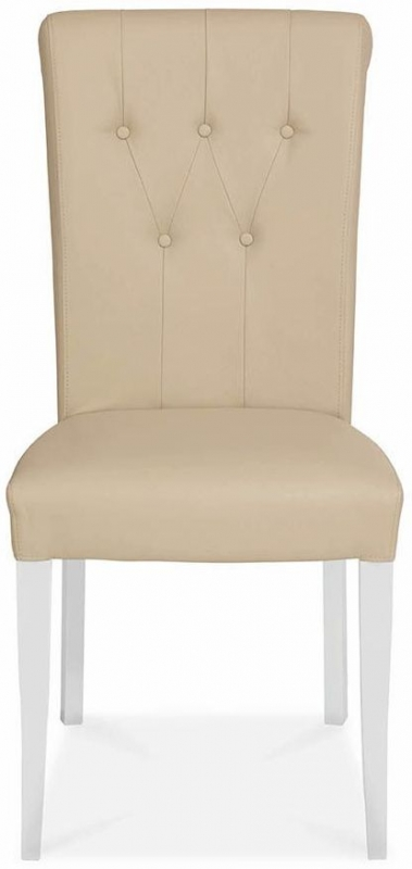 Bentley Designs Hampstead Two Tone Dining Chair - Ivory Bonded Leather Upholstered (Pair)