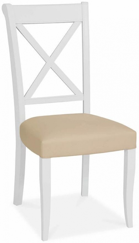 Bentley Designs Hampstead Two Tone Dining Chair - X Back Ivory Bonded Leather (Pair)