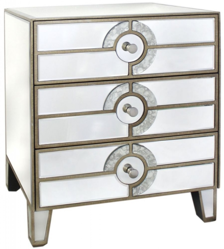 Glasgow Antique Mirrored Bedside Cabinet - 3 Drawer