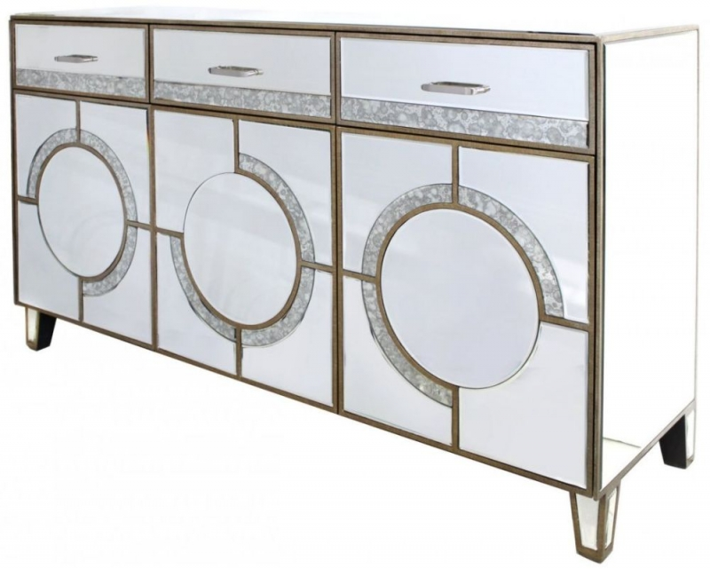 Glasgow Antique Mirrored 3 Drawer 3 Door Sideboard