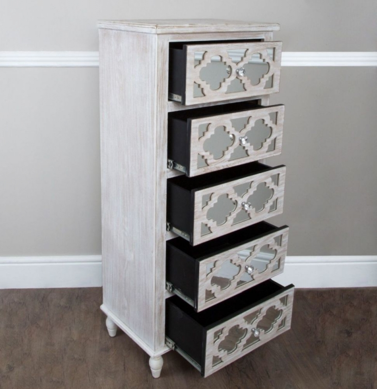 Hamlin Beach Mirrored 5 Drawer Tall Chest