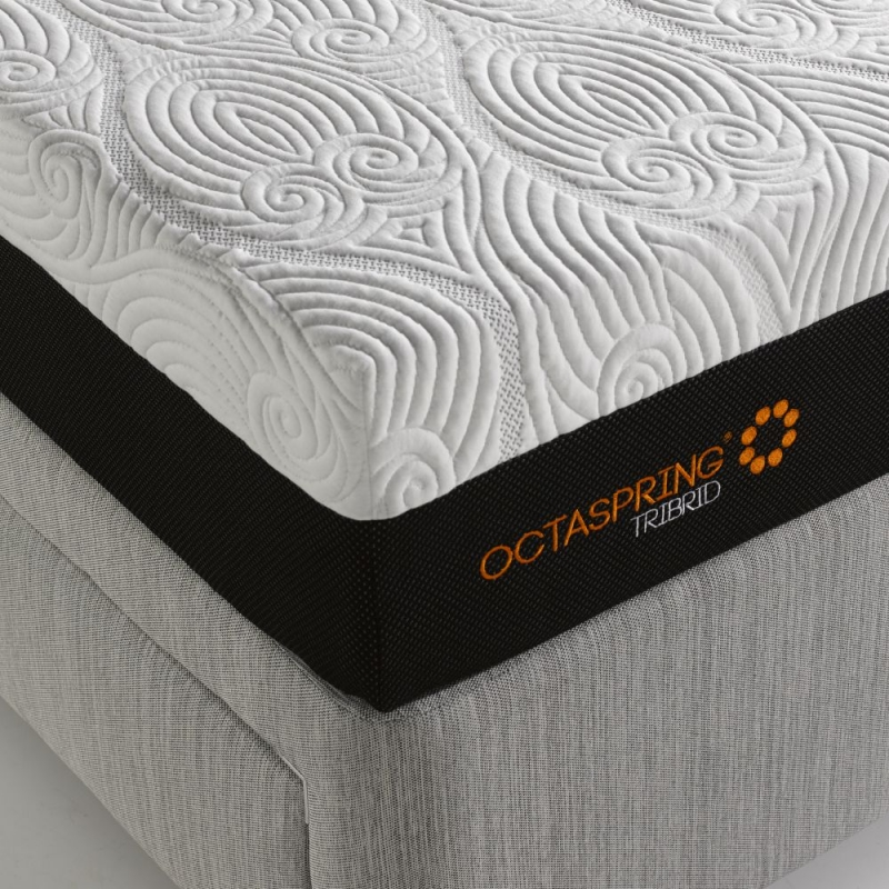 Dormeo Octaspring Tiffany White Sand Fabric Divan Bed with Hybrid Mattress