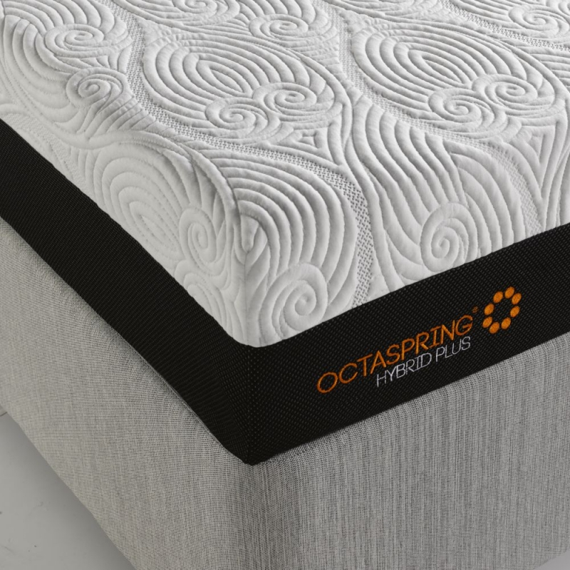 Dormeo Octaspring Tiffany White Sand Fabric Divan Bed with Hybrid Plus Mattress