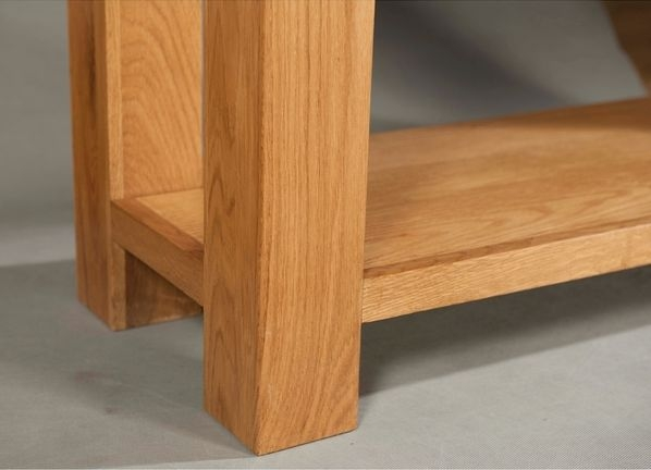 Devonshire Avon Oak Console Table - 2 Drawer with Shelf