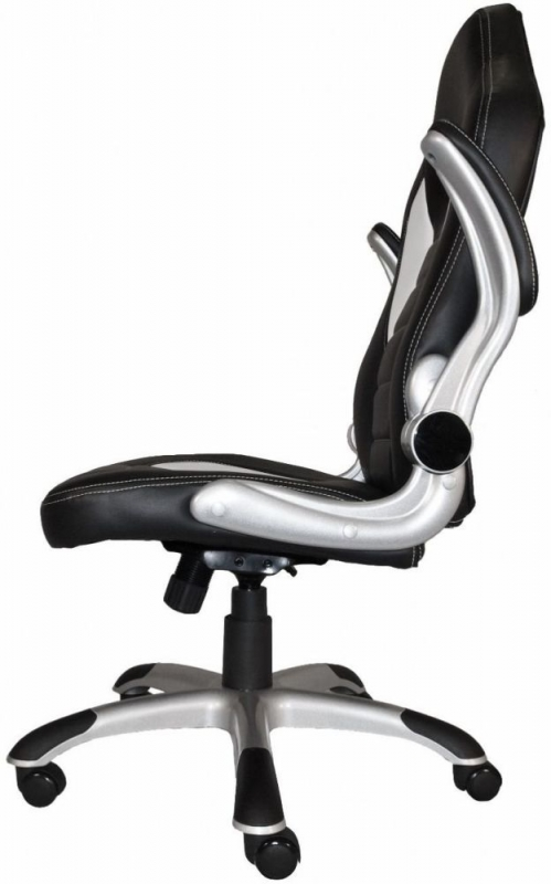 Talladega black and white faux leather office chair aoc8211whi