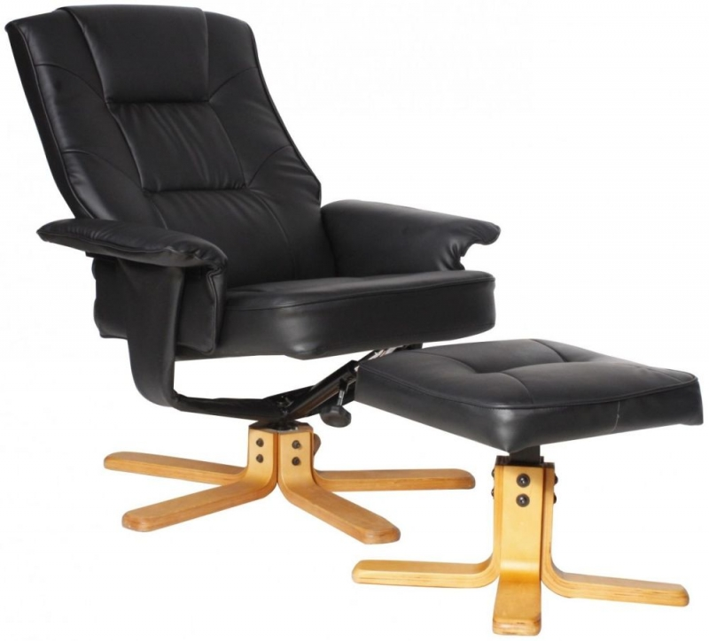 Alphason Drake Black Recliner Chair with Footstool ARC7595-PU-BLK