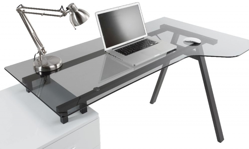 Alphason Cleveland 4 Glass Computer Desk - White and Grey AW23377-GY