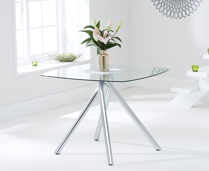 Mark Harris Elba 100cm Glass Square Dining Table and 4 California Cream Chairs