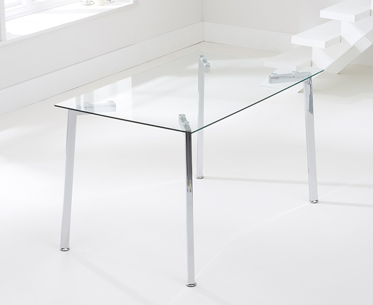 Mark Harris Munich 130cm Glass Dining Table and 4 California Black Chairs