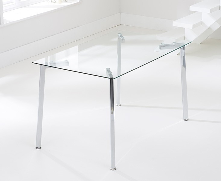 Mark Harris Munich 130cm Glass Dining Table and 4 California Charcoal Chairs