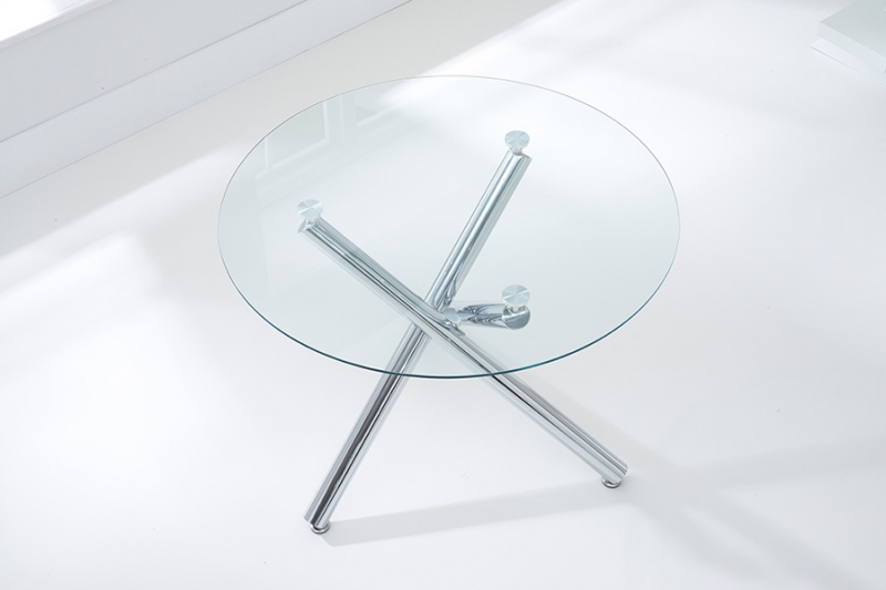 Mark Harris Odessa 100cm Glass Round Dining Table and 4 California Cream Chairs