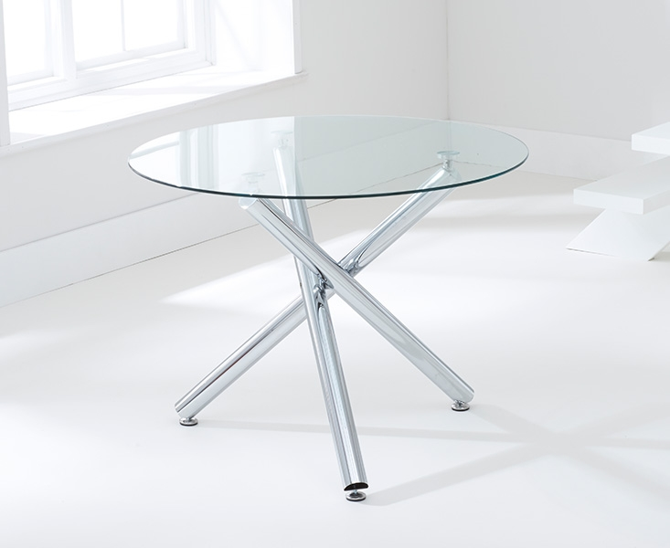Mark Harris Odessa 100cm Glass Round Dining Table and 4 California Grey Chairs