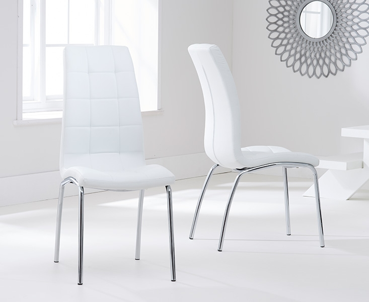 Mark Harris Odessa 100cm Glass Round Dining Table and 4 California White Chairs