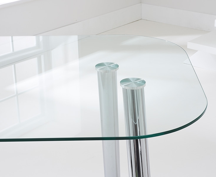 Mark Harris Pantheon Dining Table - Glass and Chrome