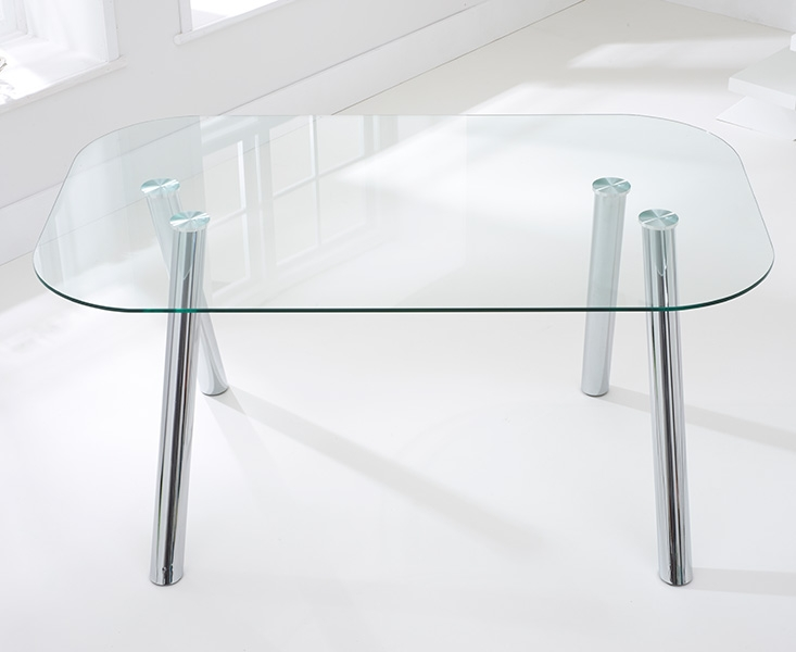 Mark Harris Pantheon Glass Dining Table and 4 California Chairs - Chrome and Red