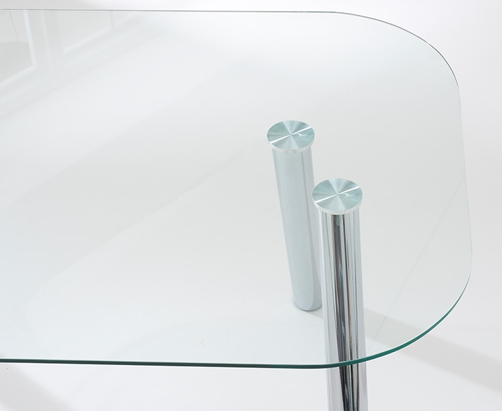 Mark Harris Pantheon Glass Dining Table and 4 California Chairs - Chrome and White