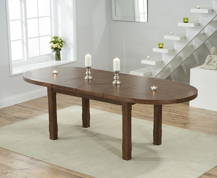Mark Harris Cheyenne Solid Dark Oak Oval Extending Dining Table with 6 Albury Beige Chairs