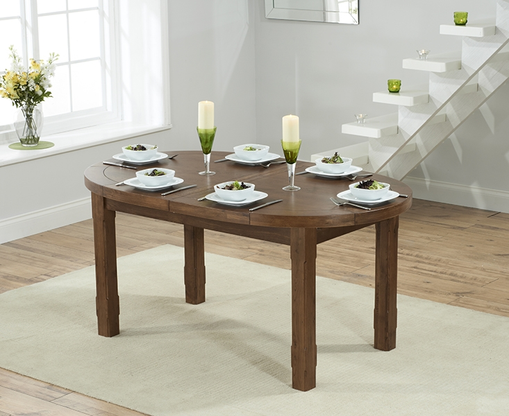 Mark Harris Cheyenne Solid Dark Oak Oval Extending Dining Table with 6 Albury Grey Chairs