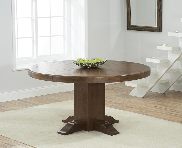 Mark Harris Turin Solid Dark Oak 150cm Round Pedestal Dining Table with 6 Albury Beige Chairs