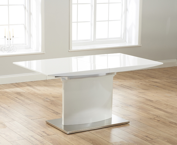 Mark Harris Hayden White High Gloss 160cm Extending Dining Set with 6 Black Hereford Dining Chairs