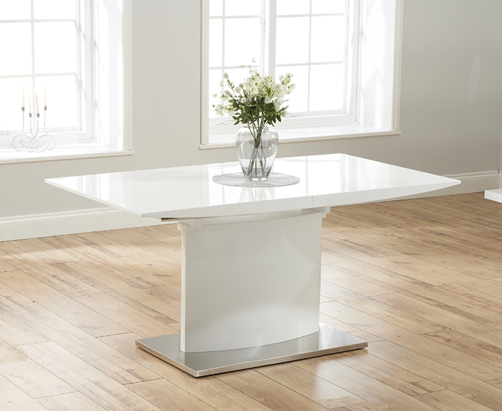 Mark Harris Hayden White High Gloss 160cm Extending Dining Table with 6 Black Malibu Chairs