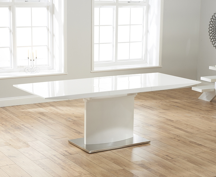 Mark Harris Hayden White High Gloss 160cm Extending Dining Table with 6 Red Malibu Chairs