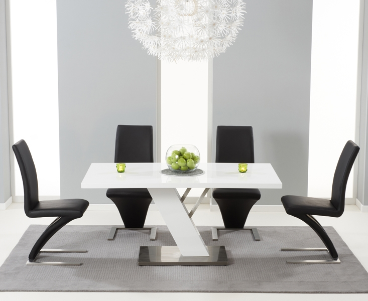 Mark Harris Portland White High Gloss 160cm Dining Table with 4 White Hereford Chairs