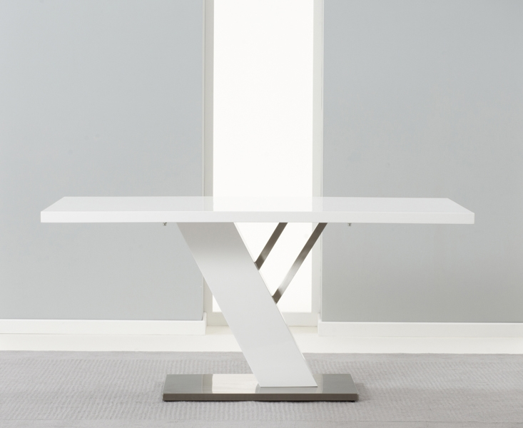 Mark Harris Portland White High Gloss 160cm Dining Table with 4 White Malibu Chairs