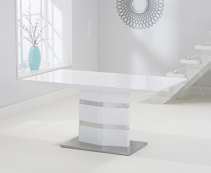 Mark Harris Springfield White High Gloss Dining Table - 160cm