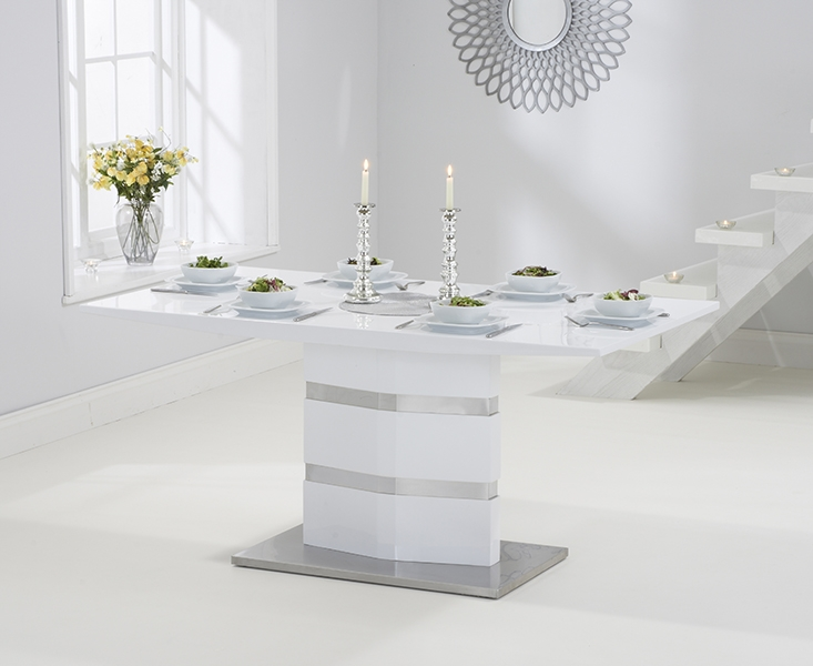 Mark Harris Springfield White High Gloss Dining Table and 4 Hereford Black Chairs