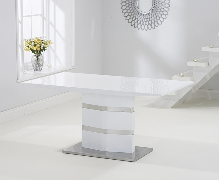Mark Harris Springfield White High Gloss 160cm Dining Table with 4 White Hereford Chairs