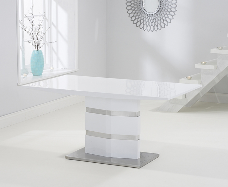 Mark Harris Springfield White High Gloss 160cm Dining Table with 4 Black Malibu Chairs