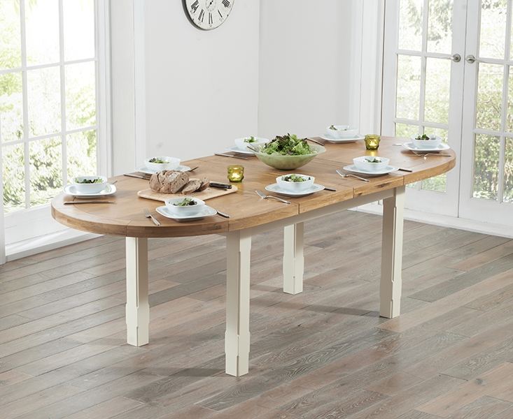 Mark Harris Cheyenne Oak And Cream Dining Table   Oval Extending