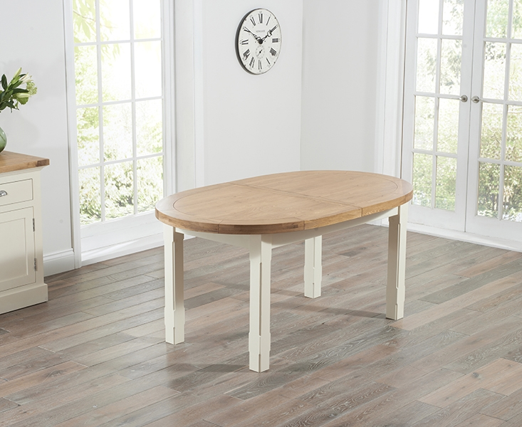 Mark Harris Cheyenne Oak and Cream Oval Extending Dining Table with 6 Cavanaugh Chairs