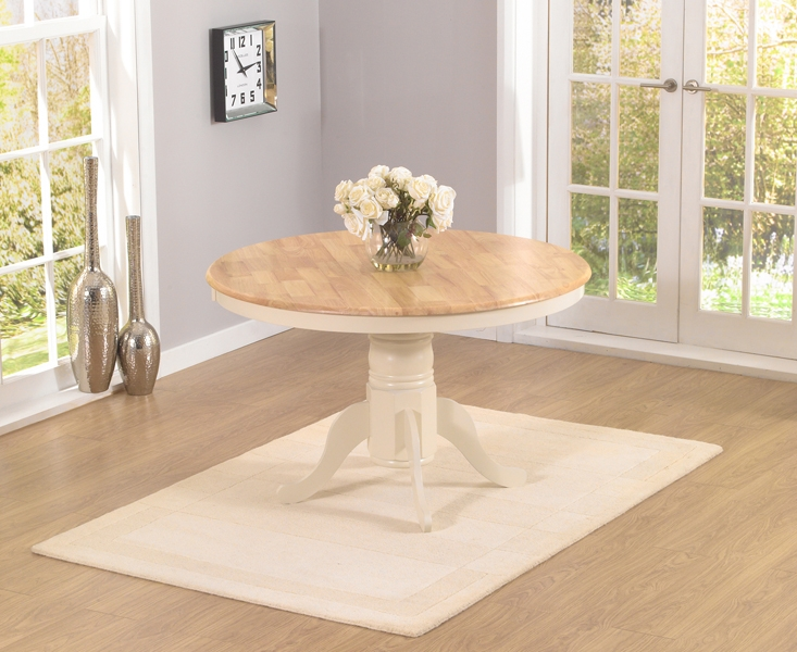 Mark Harris Elstree Oak and Cream 120cm Round Dining Set with 4 Dining Chairs