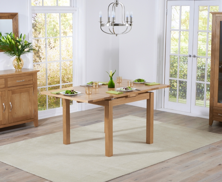 Mark Harris Cambridge Solid Oak 90cm Extending Dining Table with 4 Roma Cream Bycast Leather Chairs