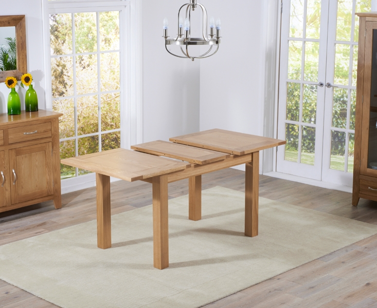 Mark Harris Cambridge Solid Oak 120cm Extending Dining Table with 4 Roma Brown Bycast Leather Chairs