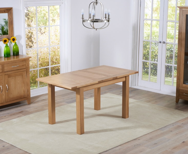 Mark Harris Cambridge Solid Oak Dining Set - 120cm Extending with 4 Roma Brown Bycast Leather Chairs