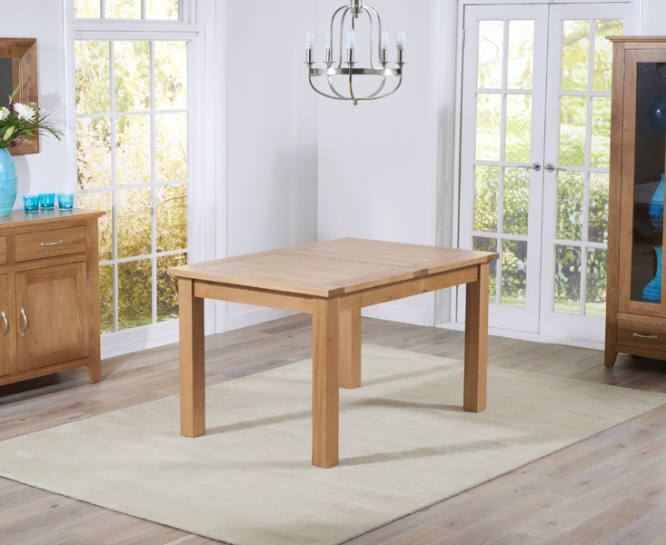 Mark Harris Cambridge Solid Oak 130cm Extending Dining Set with 4 Roma Brown Bycast Leather Dining Chairs
