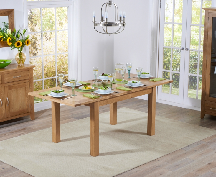 Mark Harris Cambridge Solid Oak Dining Set - 130cm Extending with 4 Roma Cream Bycast Leather Chairs