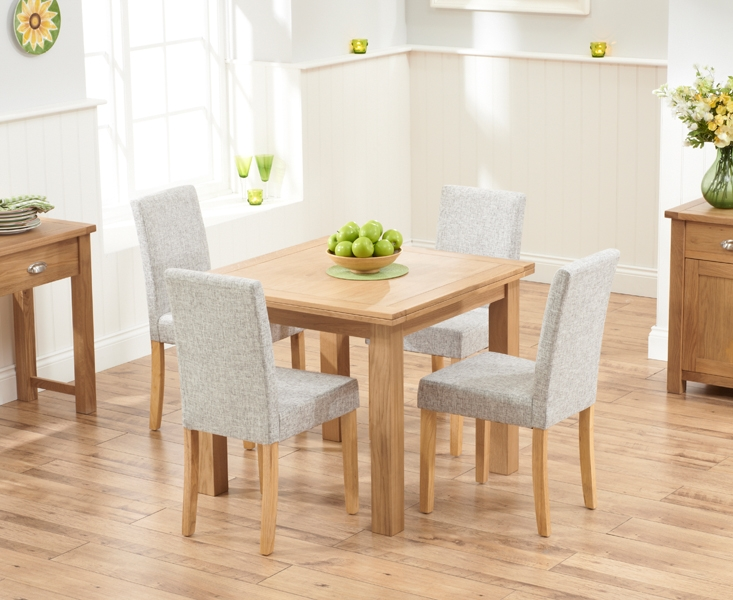 Mark Harris Sandringham Solid Oak 90cm Flip Top Extending Dining Table with 4 Maiya Brown Fabric Chairs