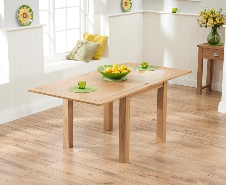 Mark Harris Sandringham Solid Oak Dining Set - 90cm Flip Top Extending with 4 Valencia Timber Seat Chairs