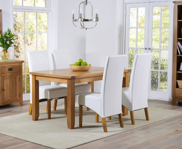 Mark Harris York Solid Oak 140cm Dining Table with 4 Roma Brown Bycast Leather Chairs