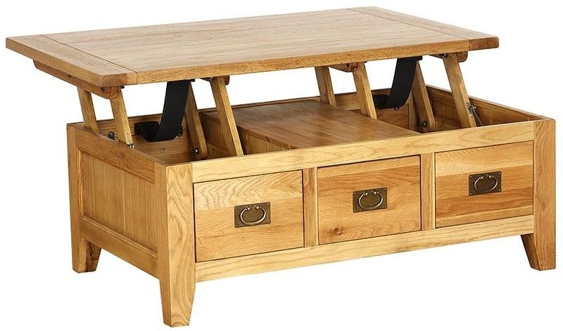Vancouver Petite Oak Coffee Table - Lift Up Top 3 Drawer